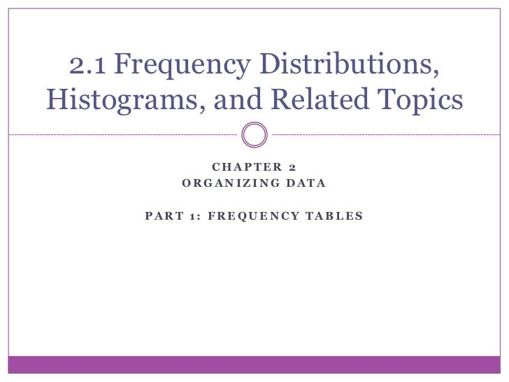2.1 Frequency Distributions,Histograms, and Related Topics              CHAPTER 2           ORGANIZING DATA       PART 1: ...