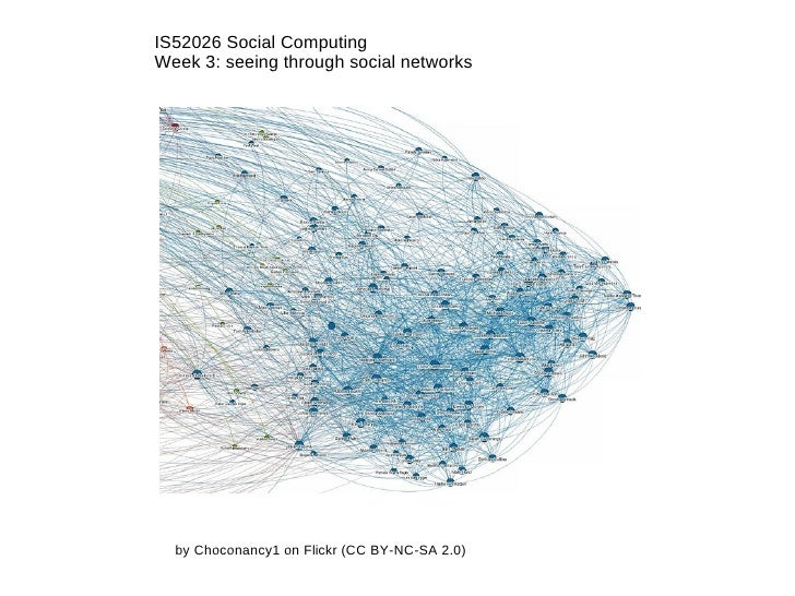 IS52026 Social Computing Week 3: seeing through social networks by Choconancy1 on Flickr (CC BY-NC-SA 2.0)
