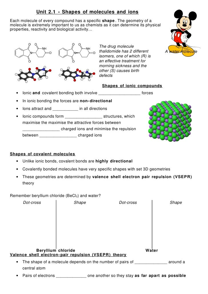 Unit 2.1 - Shapes of molecules and ions Each molecule of every compound has a specific shape . The geometry of a molecule ...