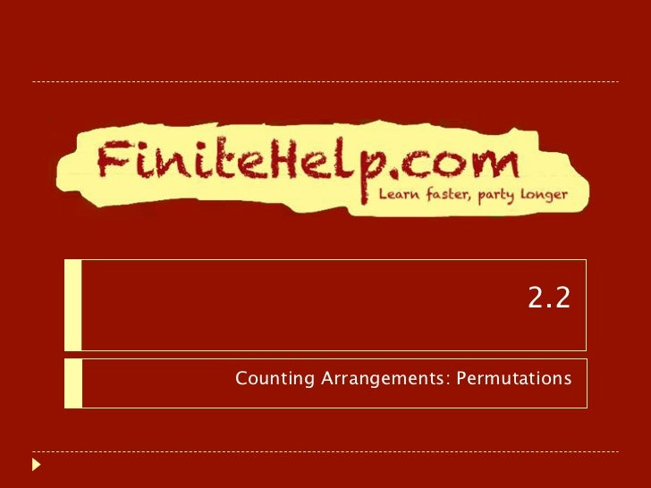 Counting Arrangements: Permutations - Finite Math