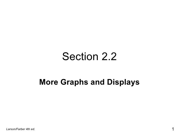 Section 2.2 More Graphs and Displays Larson/Farber 4th ed.