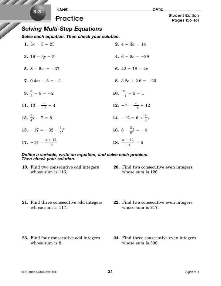 solving two step equation worksheets