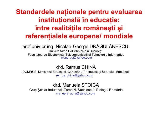 Standardele nationale pentru evaluarea institutionala in educatie
