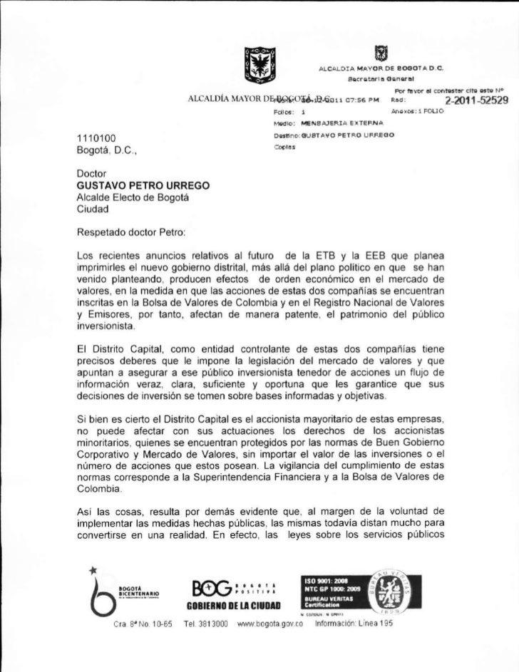 Carta de la Alcaldesa dirigida al Alcalde Electo | Anuncios sobre la ETB y EEB