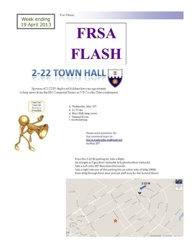 Fort Drum,Week ending19 April 2013                        FRSA                       FLASH