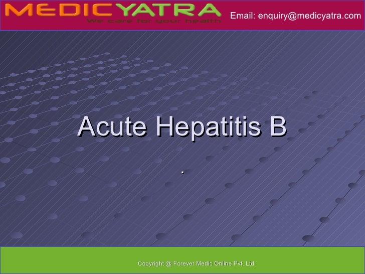 Acute hepatitis B Treatment
