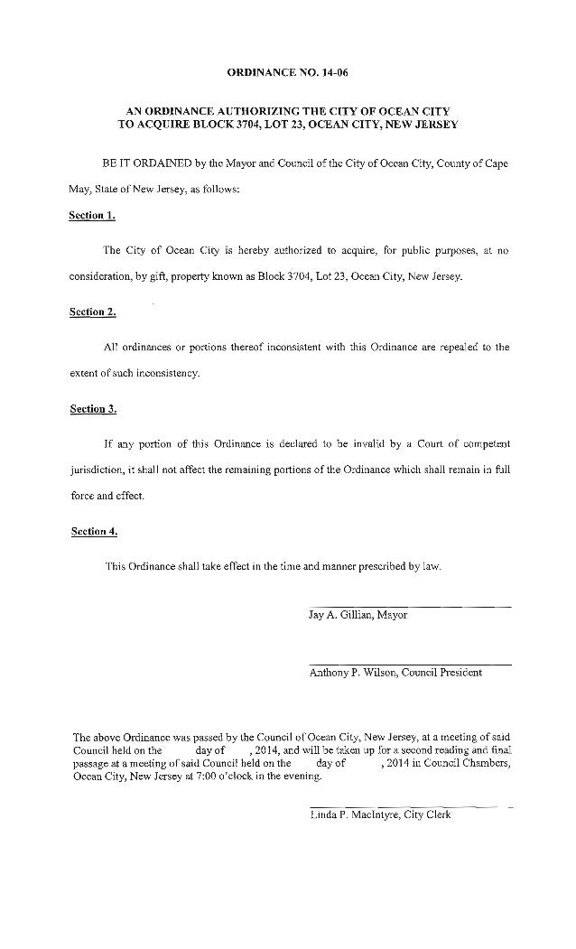 Ocean City Council agenda for Feb. 27, 2014