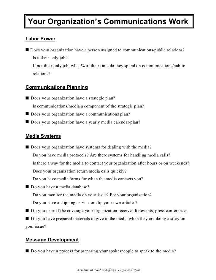 2.2 Karen Jeffreys: Communications Worksheet