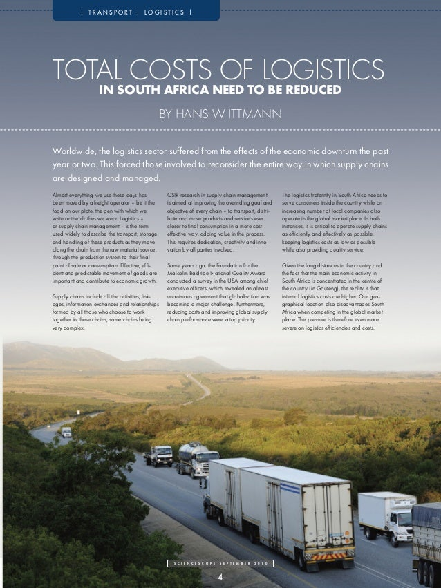 | TRANSPORT | LOGISTICS |TOTAL COSTS OF LOGISTICS                    IN SOUTH AFRICA NEED TO BE REDUCED                   ...