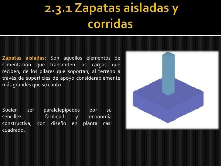 2.3.1 Zapatas aisladas y corridas <br />Zapatas aisladas: Son aquellos elementos de Cimentación que transmiten las cargas ...