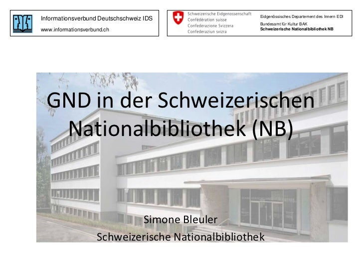 GND in der Schweizerischen Nationalbibliothek
