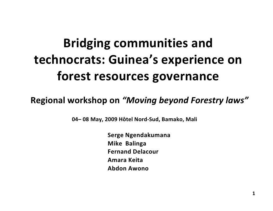 "Bridgingcommunitiesand technocrats:Guinea'sexperienceon     forestresourcesgovernance Regionalworkshopon""Movin..."