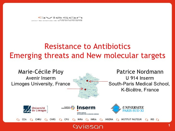 Resistance to Antibiotics Emerging threats and New molecular targets Marie-Cécile Ploy Avenir Inserm Limoges University, F...