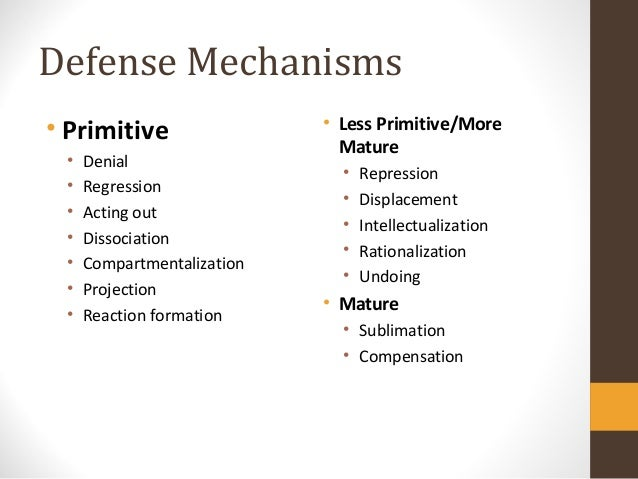 defense mechanisms projection Do you think that defense mechanisms are what happen in the football field and coping mechanisms are what a team does when the quarterback is.