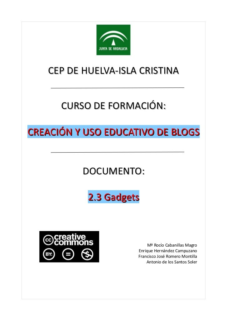 CEP DE HUELVA-ISLA CRISTINA      CURSO DE FORMACIÓN:CREACIÓN Y USO EDUCATIVO DE BLOGS          DOCUMENTO:           2.3 Ga...