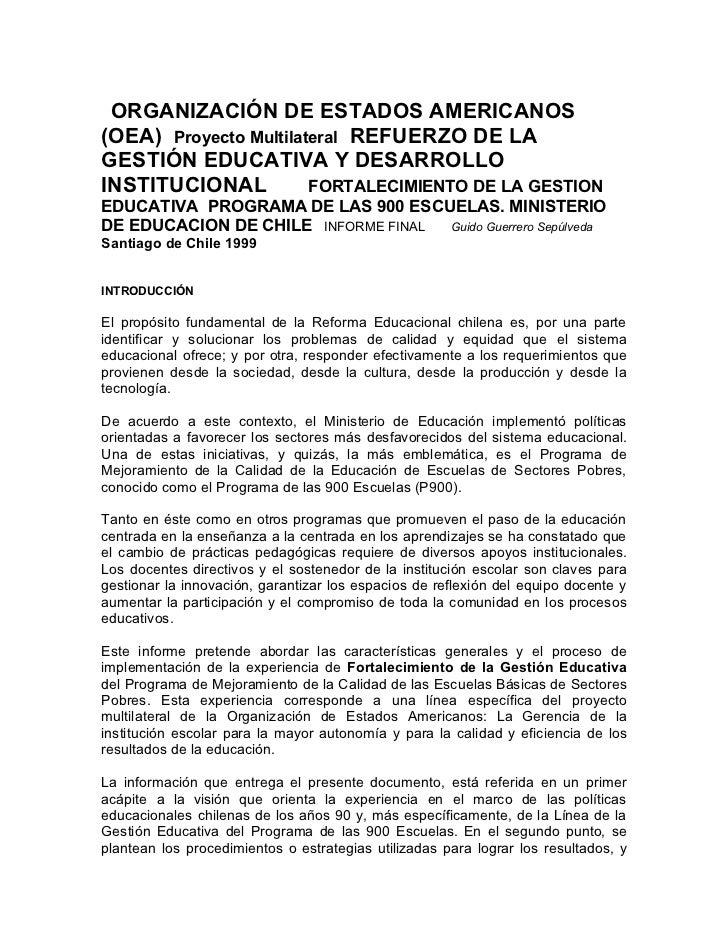 ORGANIZACIÓN DE ESTADOS AMERICANOS(OEA) Proyecto Multilateral REFUERZO DE LAGESTIÓN EDUCATIVA Y DESARROLLOINSTITUCIONAL   ...