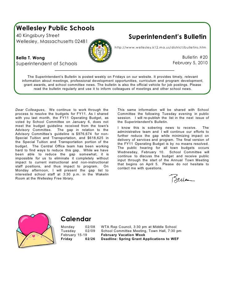 Superintendent's Bulletin 2-05-10