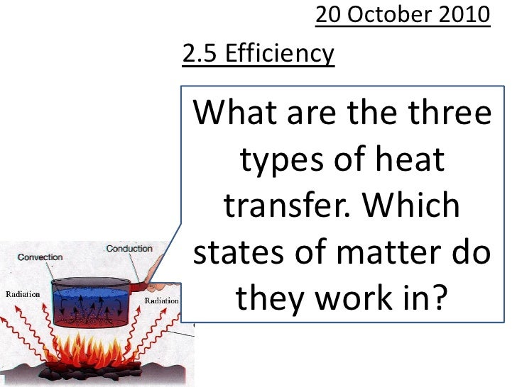 20 October 2010 2.5 Efficiency  What are the three    types of heat   transfer. Which states of matter do    they work in?