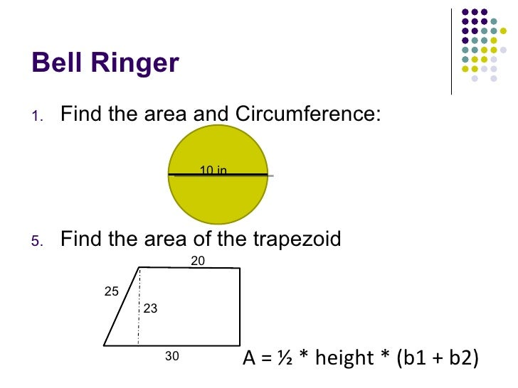Bell Ringer <ul><li>Find the area and Circumference: </li></ul><ul><li>Find the area of the trapezoid  </li></ul>10 in. A ...