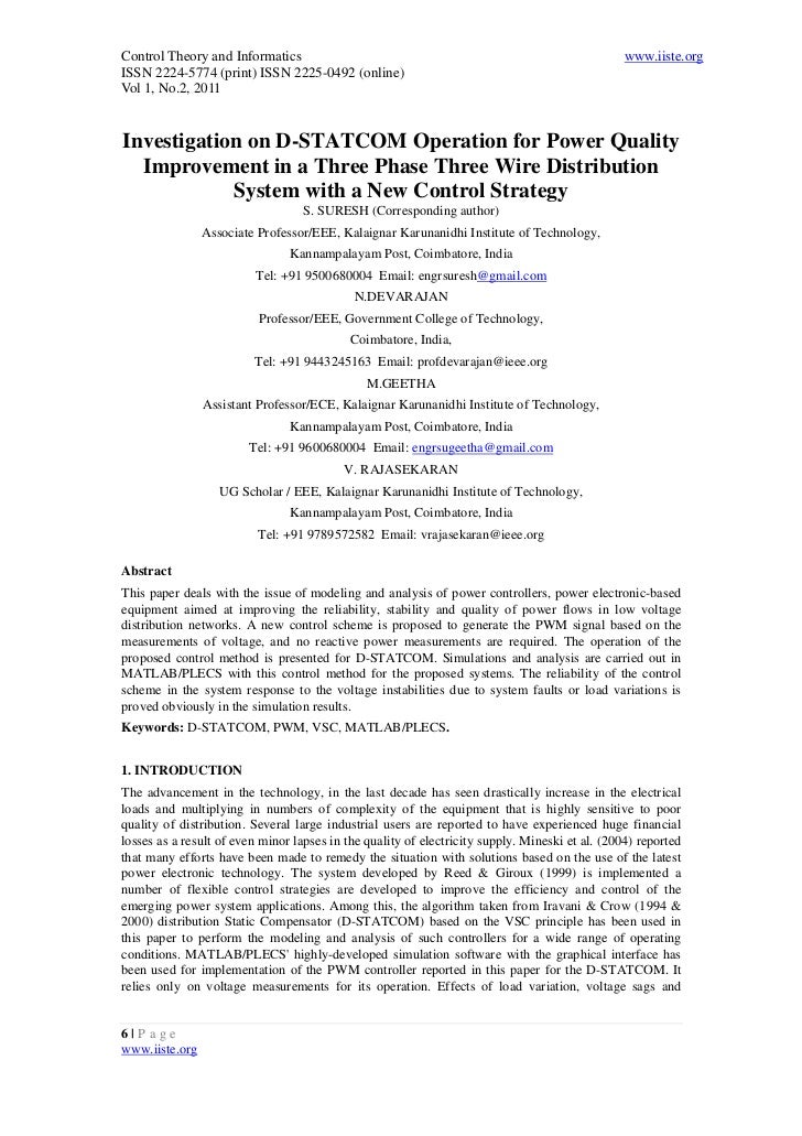 2.[6 13]investigation on d-statcom operation for power quality improvement in a three phase three wire distribution system with a new control strategy