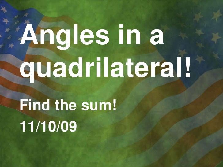 2.6 Angles In Quadrilaterals