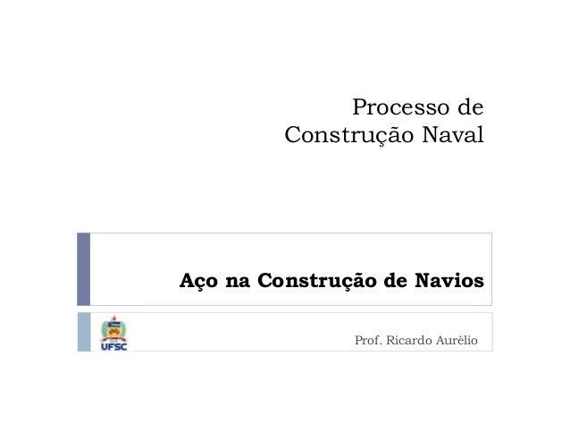 Prof. Ricardo Aurélio Aço na Construção de Navios Processo de Construção Naval