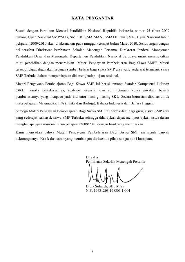 KATA PENGANTARSesuai dengan Peraturan Menteri Pendidikan Nasional Republik Indonesia nomor 75 tahun 2009tentang Ujian Nasi...