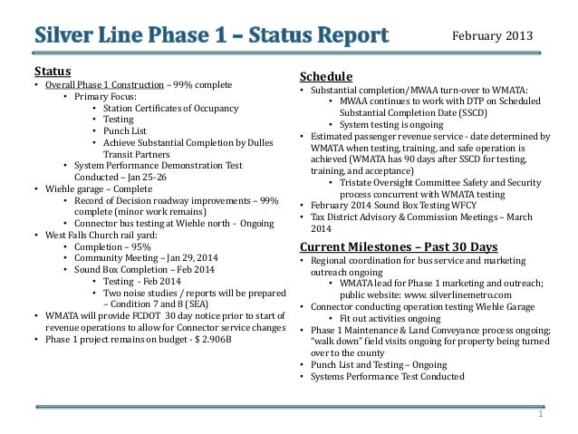 Status • Overall Phase 1 Construction – 99% complete • Primary Focus: • Station Certificates of Occupancy • Testing • Punc...