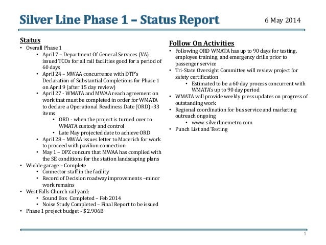 Silver Line Phase 1-Status Report: May 6, 2014