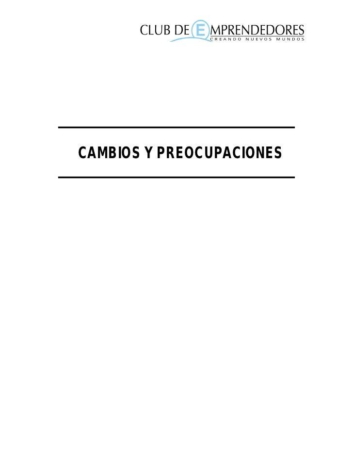 CAMBIOS Y PREOCUPACIONES