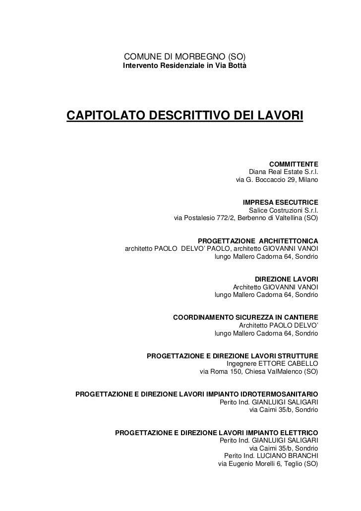 COMUNE DI MORBEGNO (SO)              Intervento Residenziale in Via BottàCAPITOLATO DESCRITTIVO DEI LAVORI                ...