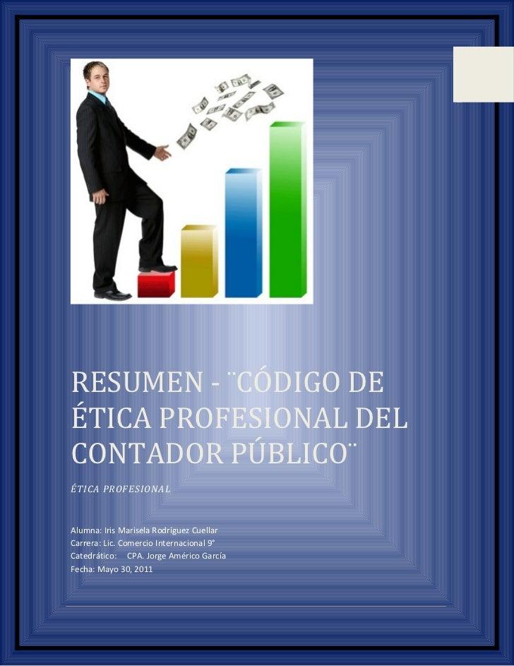 codigo de etica profesional de cpa resumen