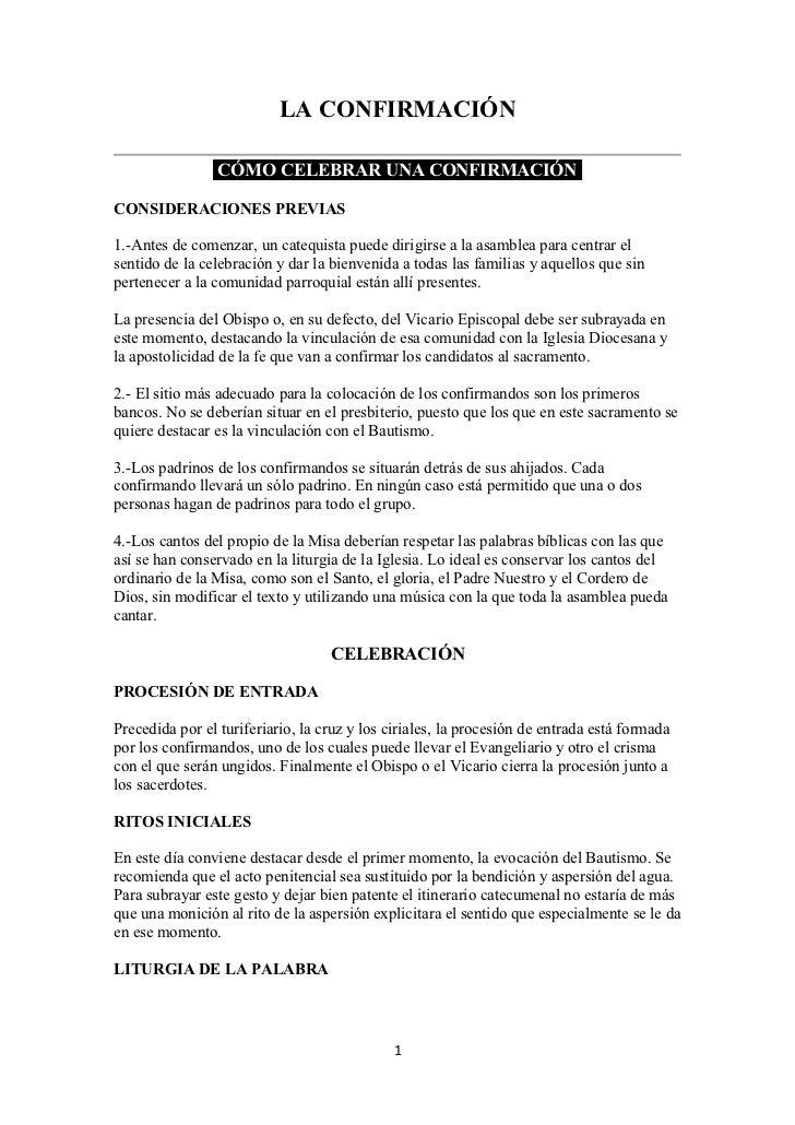 LA CONFIRMACIÓN                 CÓMO CELEBRAR UNA CONFIRMACIÓNCONSIDERACIONES PREVIAS1.-Antes de comenzar, un catequista p...