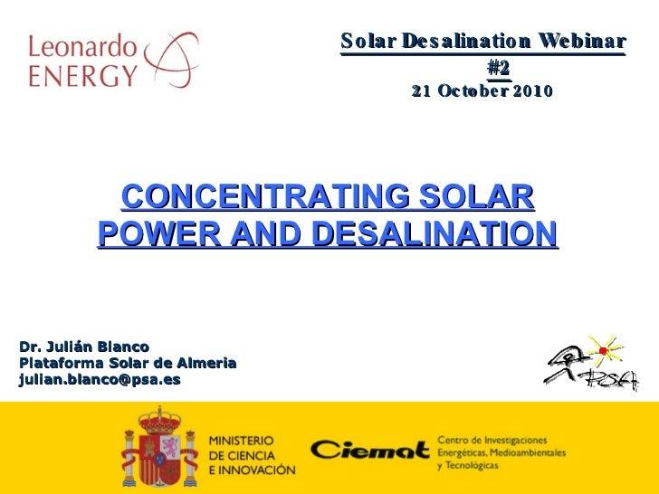 CSP Training series : solar desalination (2/2)