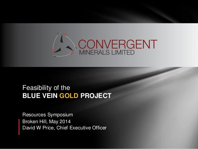 Resources Symposium Broken Hill, May 2014 David W Price, Chief Executive Officer Feasibility of the BLUE VEIN GOLD PROJECT