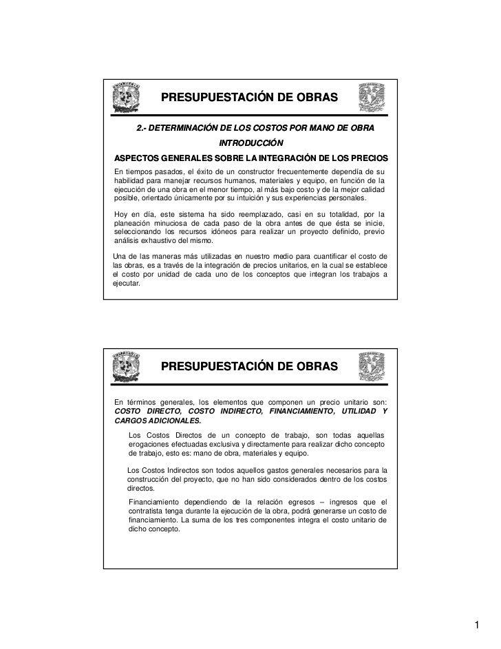 PRESUPUESTACIÓN DE OBRAS         2.-        2.- DETERMINACIÓN DE LOS COSTOS POR MANO DE OBRA                              ...