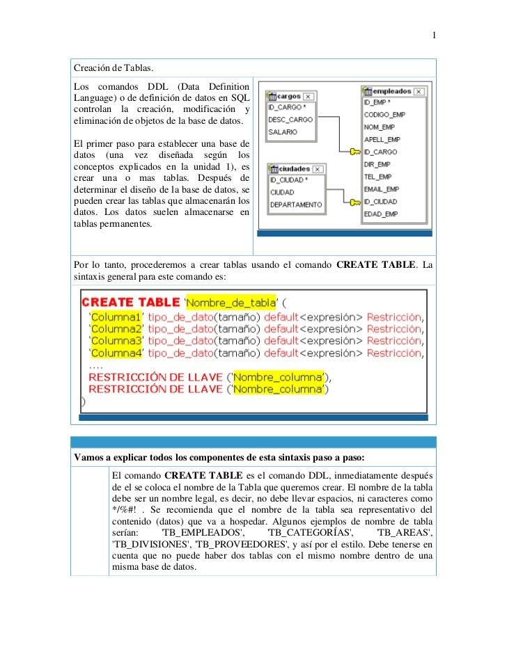 Creación de Tablas.Los comandos DDL (Data Definition Language) o de definición de datos en SQL controlan la creación, modi...
