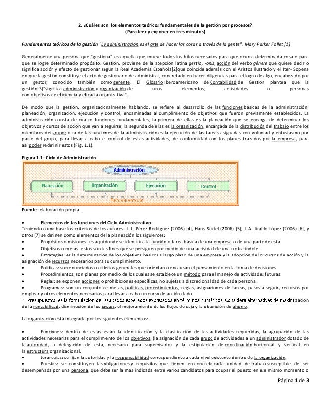 Página 1 de 32. ¿Cuáles son los elementos teóricos fundamentales de la gestión por procesos?(Para leer y exponer en tres m...