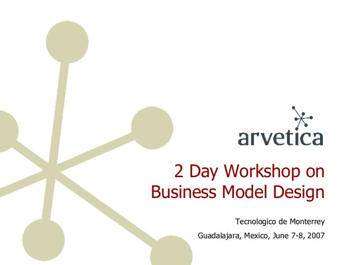 2 Day Workshop on Business Model Design Tecnologico de Monterrey Guadalajara, Mexico, June 7-8, 2007