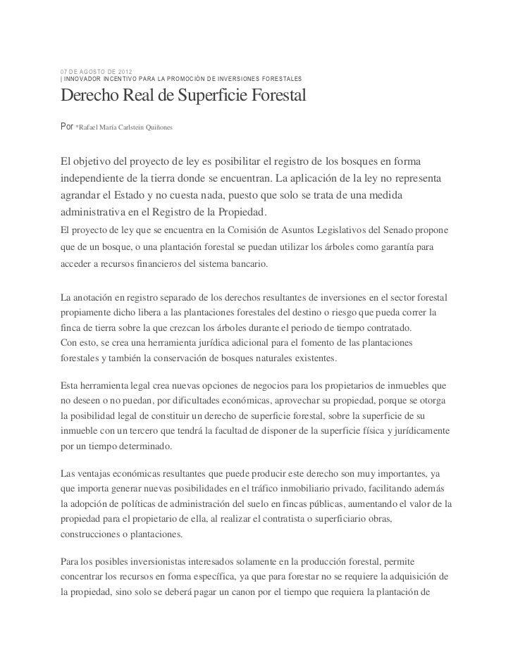 07 DE AGOST O DE 2012| INNO VADO R INC ENT IV O P AR A L A P ROMOC IÓN DE IN VER SI ONE S F ORES T ALESDerecho Real de Sup...