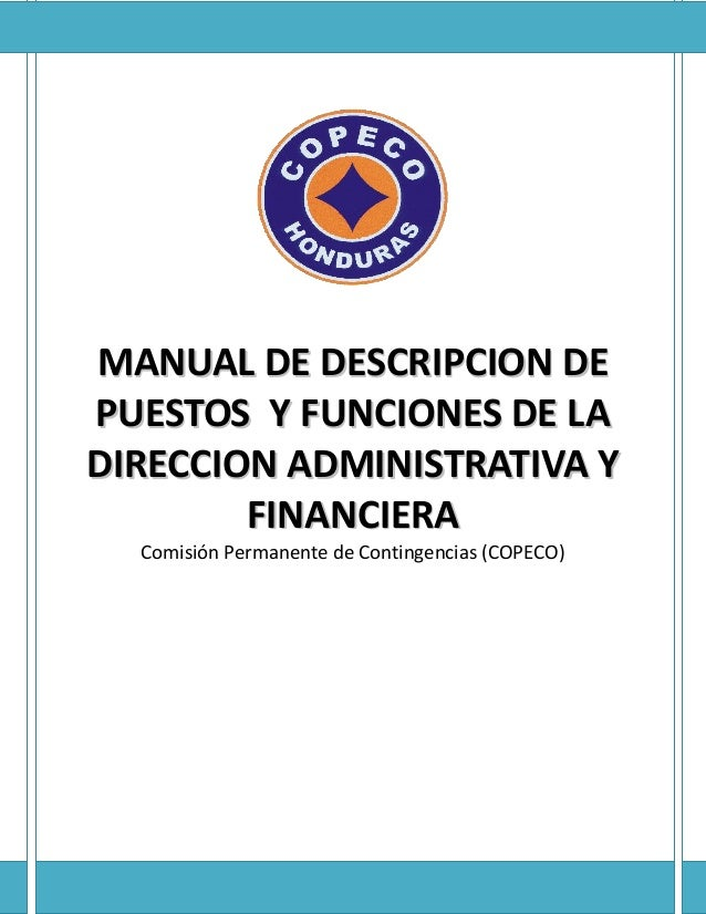 MMAANNUUAALL DDEE DDEESSCCRRIIPPCCIIOONN DDEE PPUUEESSTTOOSS YY FFUUNNCCIIOONNEESS DDEE LLAA DDIIRREECCCCIIOONN AADDMMIINN...
