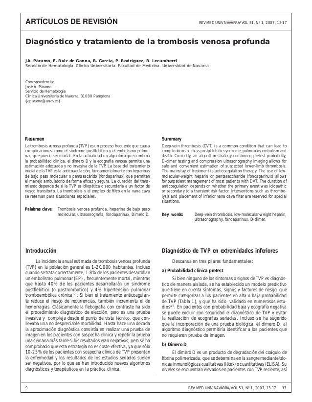 Diagnóstico y tratamiento de la trombosis venosa profunda REV MED UNIV NAVARRA/VOL 51, Nº 1, 2007, 13-17 139 Diagnóstico y...