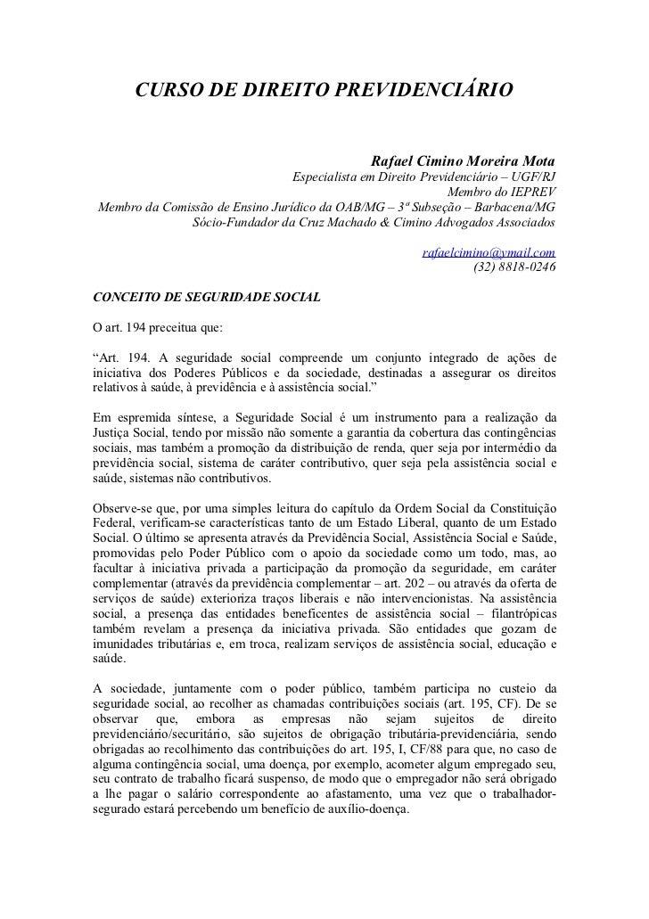 2   direito previdenciário - 2012 - conceito de seguridade social e princípios