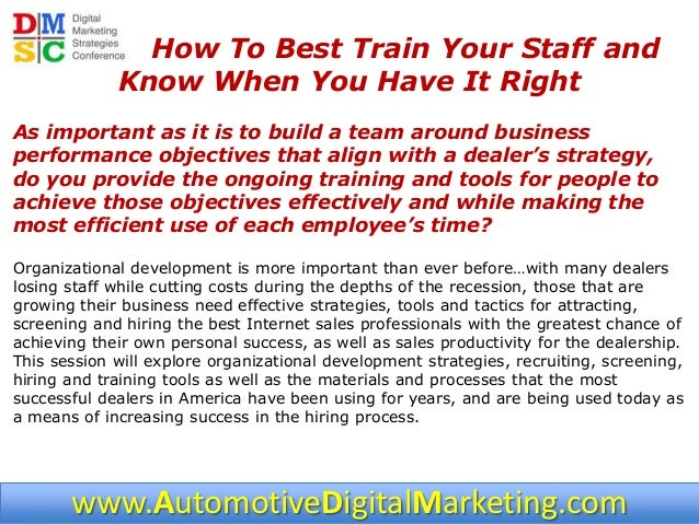 2 dmsc 2013 how to best train your staff