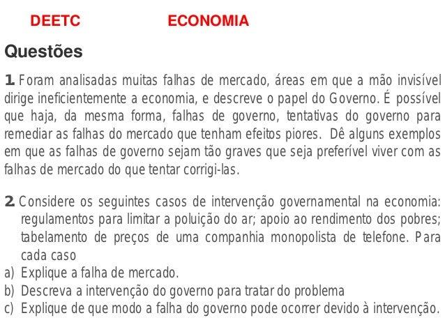 Economia mercados governo questões