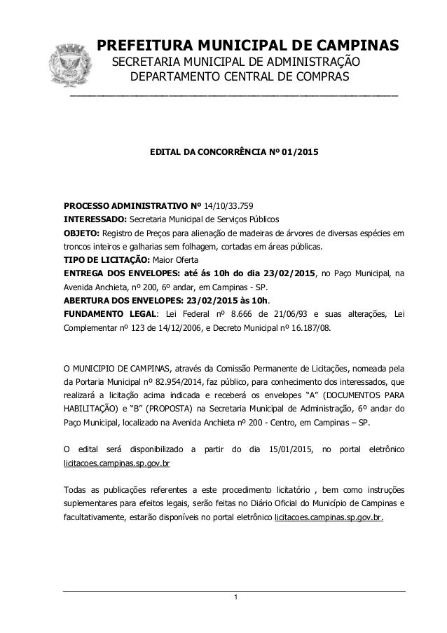 PREFEITURA MUNICIPAL DE CAMPINAS SECRETARIA MUNICIPAL DE ADMINISTRAÇÃO DEPARTAMENTO CENTRAL DE COMPRAS ___________________...