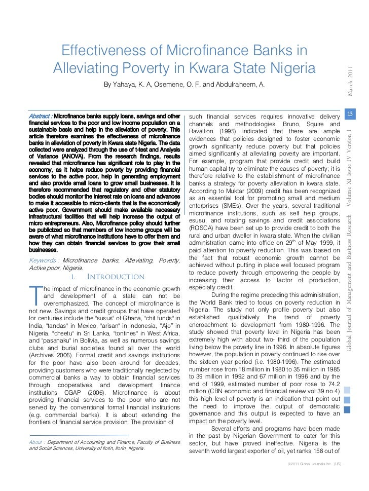 Literature review on microfinance banks in nigeria