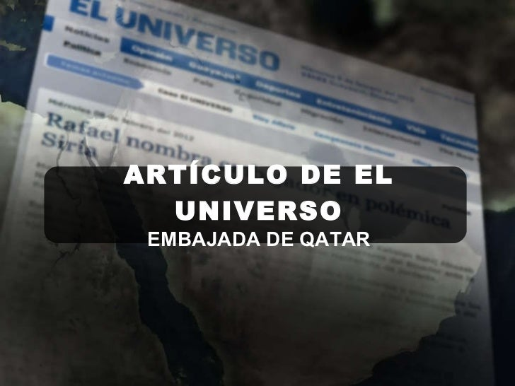 ARTÍCULO DE EL UNIVERSO EMBAJADA DE QATAR