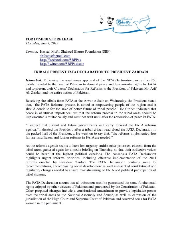 Press Release: Tribals present FATA Declaration to President Zardari (English, 4 July 2013)