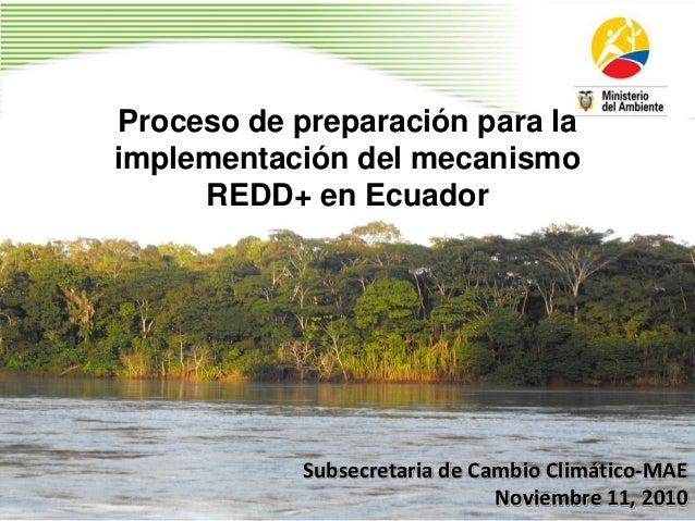 Proceso de preparación para la implementación del mecanismo REDD+ en Ecuador Subsecretaria de Cambio Climático-MAE Noviemb...
